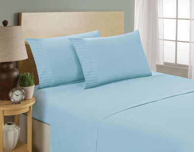 aJOY World Pleated 1800 Series Ultra-soft Premium Microfiber Sheet Set - Full, Aqua