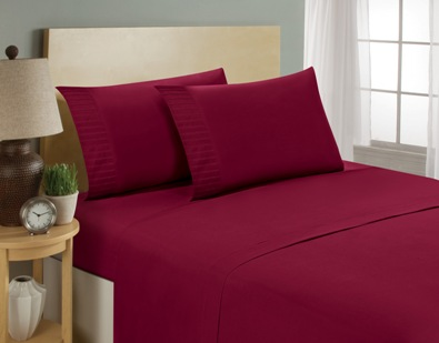 aJOY World Pleated 1800 Series Ultra-soft Premium Microfiber Sheet Set - Queen, Burgundy