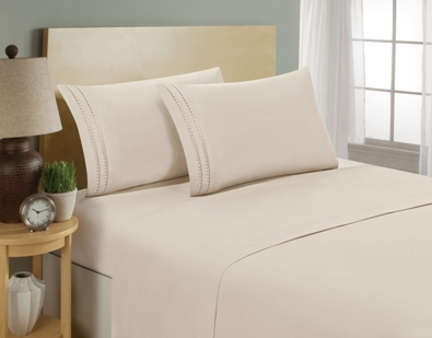 aJOY World Chain Link Embroidery 1800 Series Ultra-soft Premium Microfiber Sheet Set - Twin, Cream