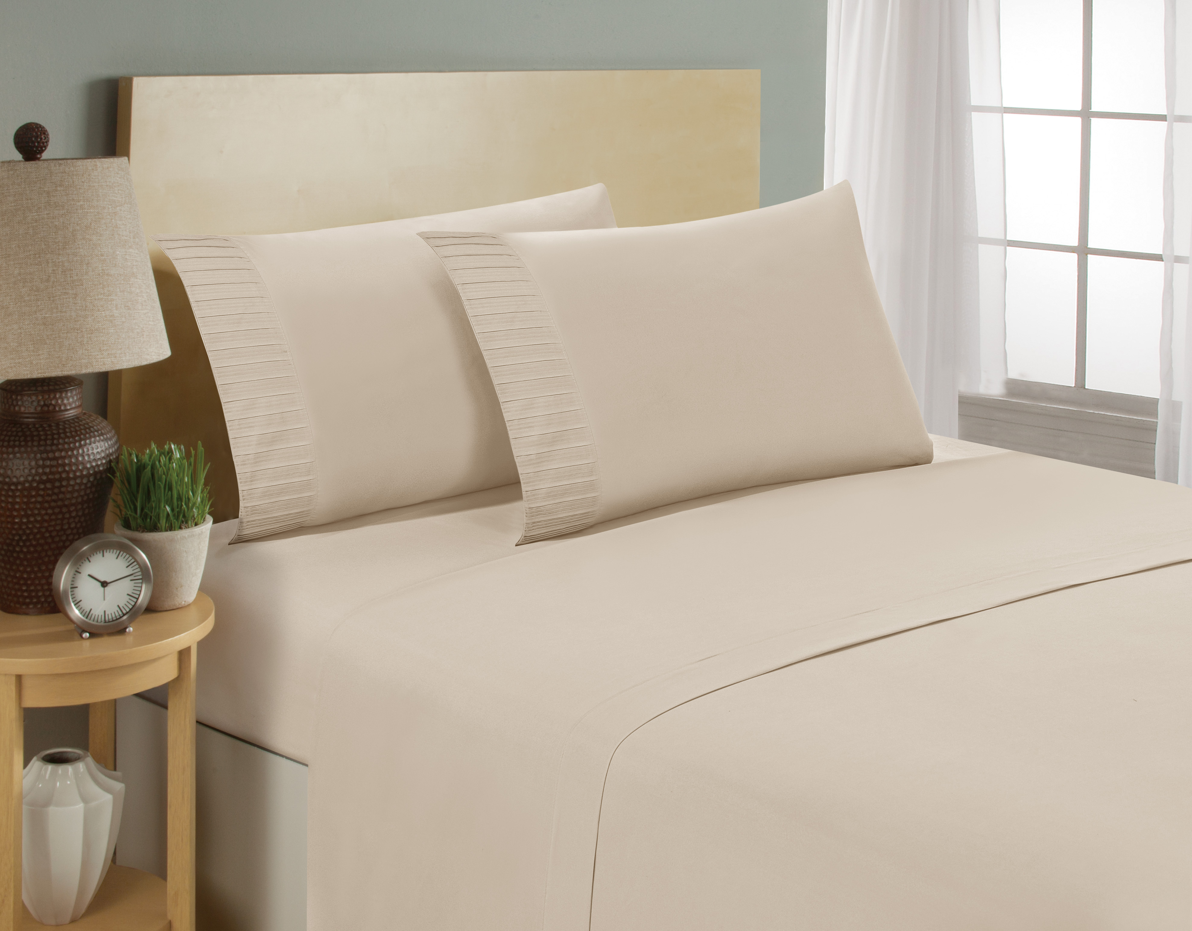 aJOY World Pleated 1800 Series Ultra-soft Premium Microfiber Sheet Set - Twin, Cream