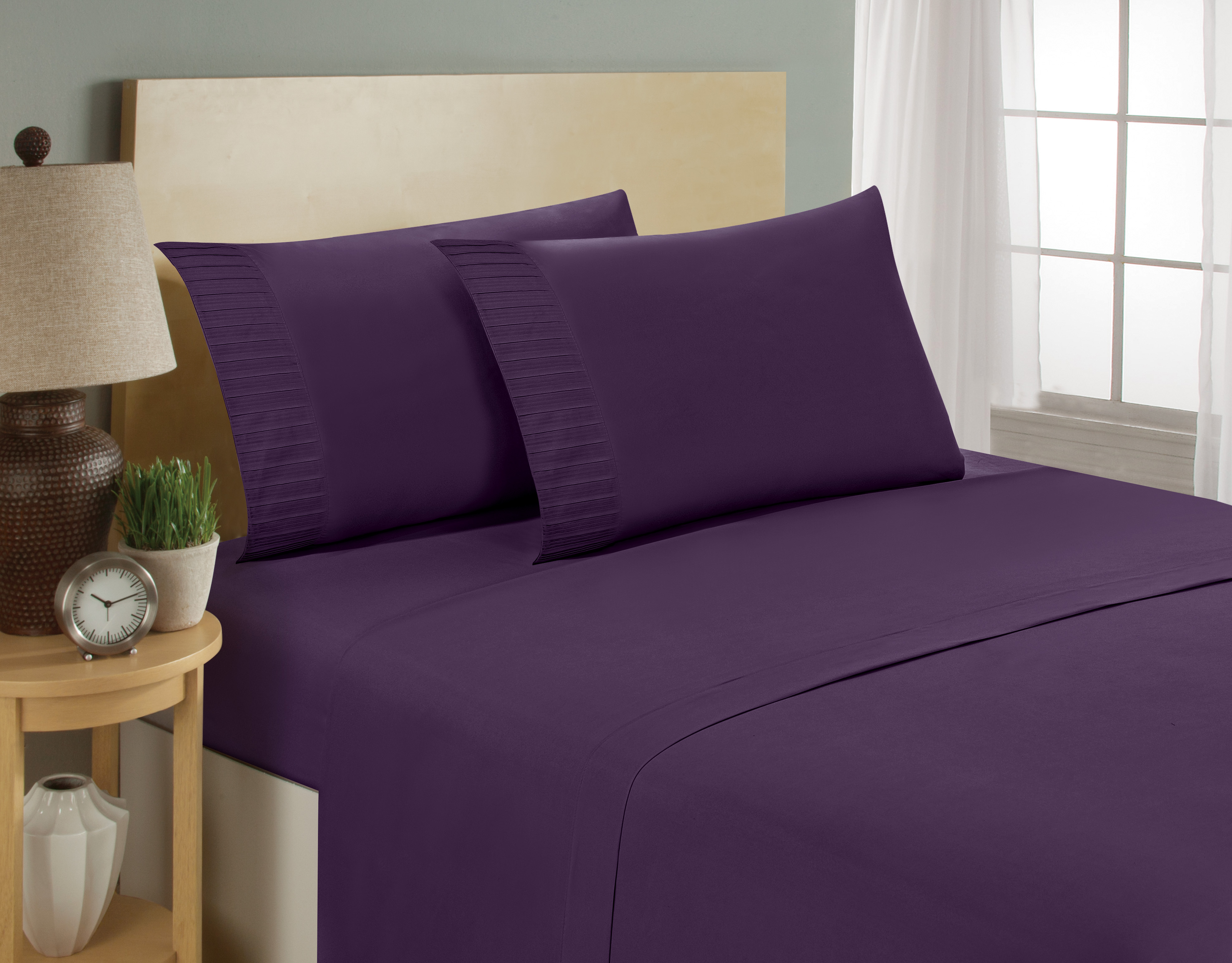 aJOY World Pleated 1800 Series Ultra-soft Premium Microfiber Sheet Set - Queen, Eggplant