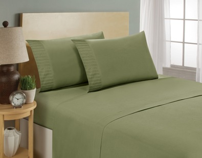 aJOY World Pleated 1800 Series Ultra-soft Premium Microfiber Sheet Set - Full, Sage